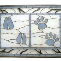 Meyda Tiffany Lodge Tiffany Deer and Cougar Tracks Stained Glass Window - 51623 - All Wall Art - Wall Art & Coverings - Decor