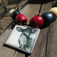 Matching Bracelet and Necklace - Cow Jewelry - Art Pendant