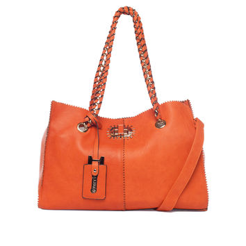 Orange Shoulder Tote  by BALIBELTS Studio