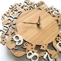 Modern Wall Clock It&#x27;s My Forest Bamboo Free by decoylab