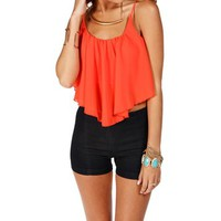 Coral Shirt Tail Crop Tank