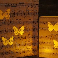 20 Butterfly Luminaries, Butterfly Wedding Decor, Butterflies, Sheet Music, Paper Lanterns, Spring Wedding, Summer Wedding, Butterfly Theme