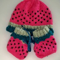 Watermelon Hat and Matching Booties, Hand Knit for Newborn Baby