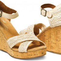 Natural Crochet Women's Strappy Wedges
