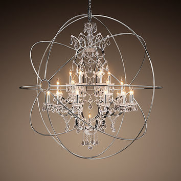 Foucault's Orb Crystal Chandelier Polished Nickel Extra-Large