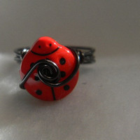 Red Lady Bug Button Ring by jewelrysldesigns on Etsy