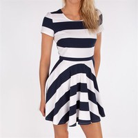 Pure Sugar Women's Contemporary Striped Fit-and-Flare Dress at Von Maur