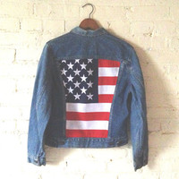 Vintage Levis Jacket, Women XS, American Flag, USA