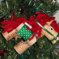 Wine cork horse ornament bottle tag by Corkycrafts on Etsy