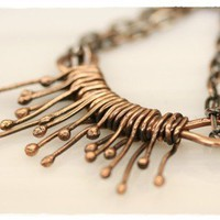 Copper Wire Wrapped Necklace -Organic | WhimOriginals - Jewelry on ArtFire