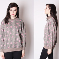 80s Leopard and Rose Sweatshirt / Rose Sweatshirt / Floral Top / Floral Sweater / 1981
