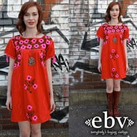 Vintage 70s Red Mexican Embroidered Hippie Boho Mini Dress S M