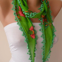 Green Scarf with pompom edge - Headband - Summer Scarf  - Thin and Lightweight Scarf