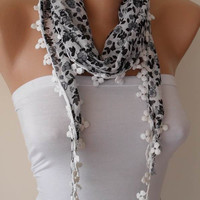 White and Gray Scarf with pompom edge - Headband - Summer Scarf  - Thin and Lightweight Scarf