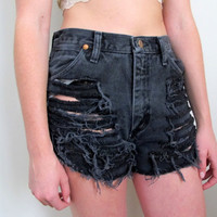 Shredded Shorts High Waist Waisted Denim Black Jean Levis Summer Size 3 4 27 28 Wrangler