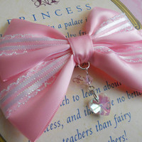 Hair clip pink bow with glass heart sweet lolita fairy kei