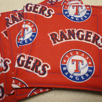 Texas Rangers Fabric Coasters by barbarajunecreations on Etsy