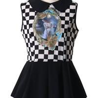 Check Print Peter Pan Collar Peplum Top
