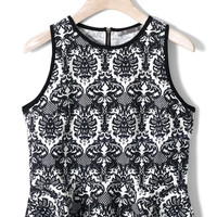 Baroque Print Peplum Top in Neon Black