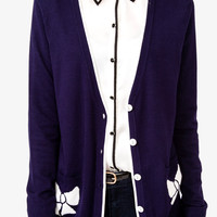 Bow Print V-Neck Cardigan