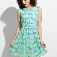 Cool Mint Zebra Dress