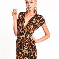 Leopard Wrap Tiered Dress