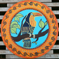 Decorative plate with Toucanhand painted by nettielouise on Etsy