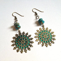 Turquoise Mosaic and Stone Earrings