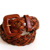Vintage Braided Leather Belt. Hippie Boho Gypsy Festival Adjustable belt Unisex Gift. Unique Gift. Small FREE SHIPPING