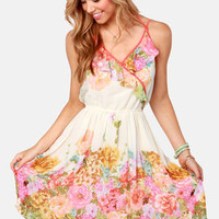Antique Rose Show Cream Floral Print Dress
