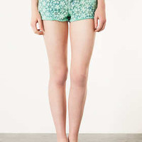 MOTO Green Crochet Hotpants - Shorts  - Clothing