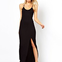 Love Maxi Dress With Thigh Split and Cross Back at asos.com