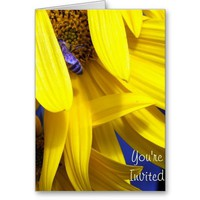 Blue Bee on Yellow Sunflower - Invitations from Zazzle.com