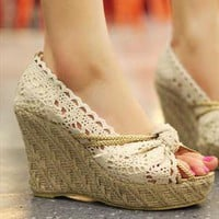 Lace Wedge Shoes