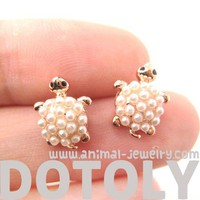 Small Cute Turtle Tortoise Sea Animal Stud Earrings with Pearl Details