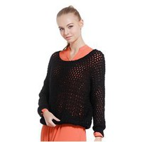 Women??s Fiber Round Collar Long Sleeve Mesh Sweater (Black)