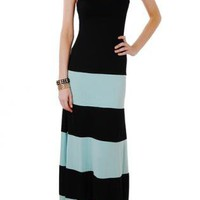 Black and Mint Colorblock Striped Maxi Dress