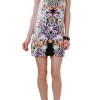 Multi Color Floral Print Shift Dress with Cutout Neckline