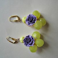Yellow Beads and Lilac Colored Flower Earrings