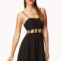Studded Cutout Fit & Flare Dress