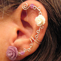 "Non Pierced Ear Cartilage Cuff  ""Roses are Soft"" Silver tone Wedding Prom Bridal Ear Cuff"