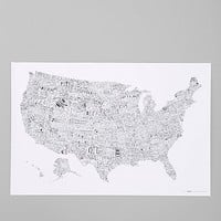 Luckies Of London USA Map Wall Art