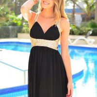 Black V-Neck Dress with Gold Sequin Detail & Cross Back