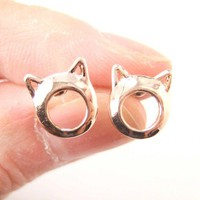 Adorable Kitty Cat Ears Animal Shaped Stud Earrings in Rose Gold