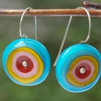Circle Earrings 4color wheels Glass and Sterling Silver Lampwork by XCognito on Zibbet