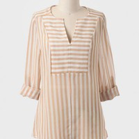 Toasted Coconut Striped Top