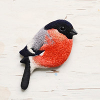 Bullfinch . bird . brooch . animal . hand-embroidered . felt .