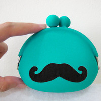 Cute Mustache Teal Coin Pouch Coin Purse. Color Choice. Bright Color Cute Gift. Geek