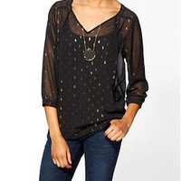 Sabine Metallic Dot Print Blouse | Piperlime