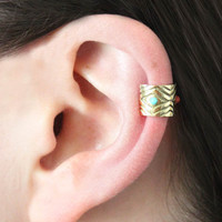 Chibi Jewels Triangles Ear Cuff in Brass